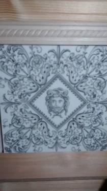 Pine wood panel and decorative balsa lining from home, Victorian ceramic tiles new.