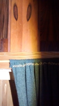 Mahogany wallpaneling, complete with eerie eye-like pattern from home, cashmere curtains new
